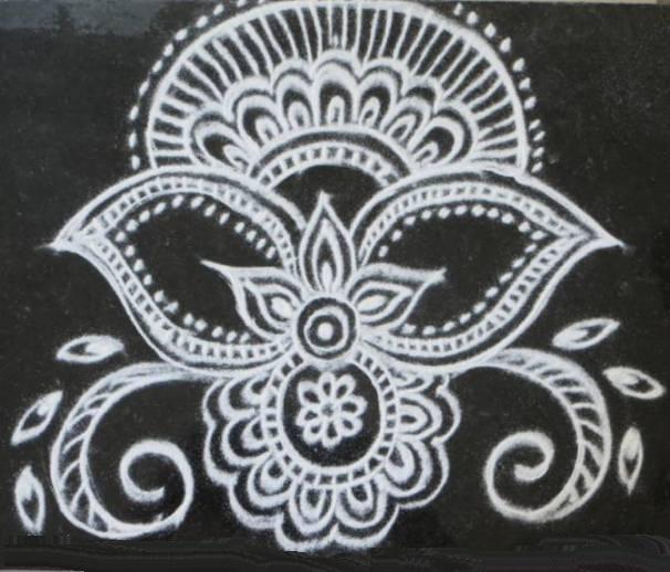 Simple Alpana Designs Lokkhi puja 2015