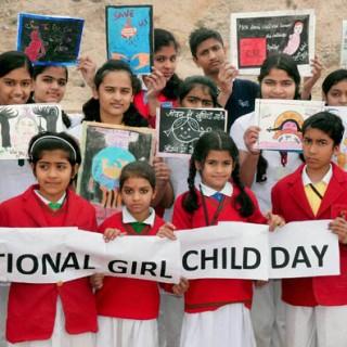 Bikaner: School children take part in an awareness campaign on National Girl Child Day in Bikaner on Saturday.(PTI1_24_2015_000054B)